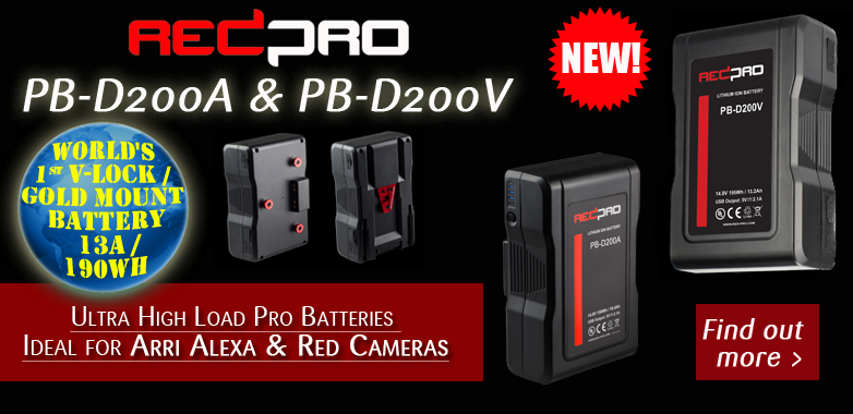 RedPro PB-D200 Vlock-Gold mount batteries