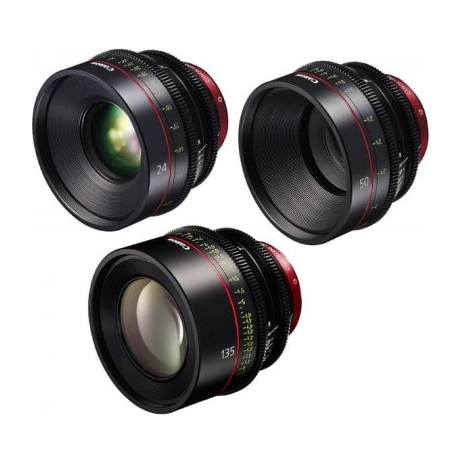 Canon CN-E 3 EF Mount Prime Lens 3 Set 24, 50 and 135mm with Peli Case