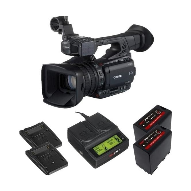 Canon XF200 Compact HD Camcorder with a charger and 2 batteries package b