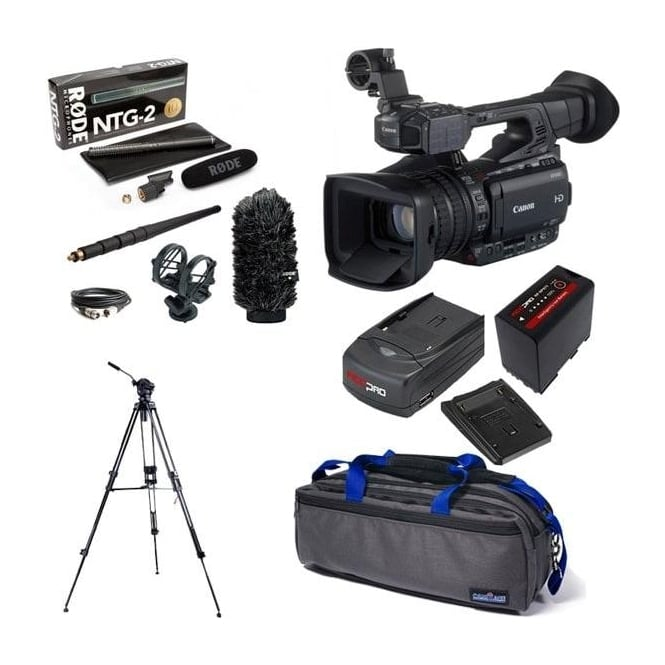 Canon XF200 Compact HD Camcorder with a charger, battery, bag, tripod + microphone kit package e
