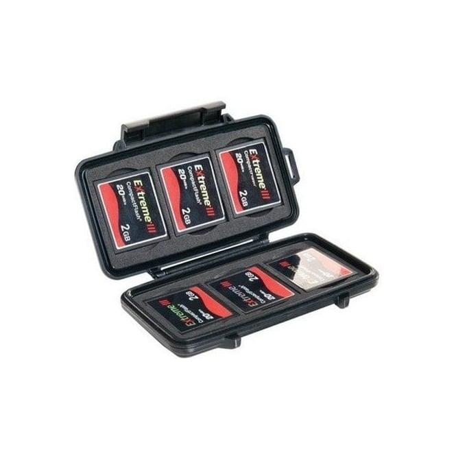 Peli 0945 Fits 6 Compact Flash/Micro Drive Cards Black case with foam