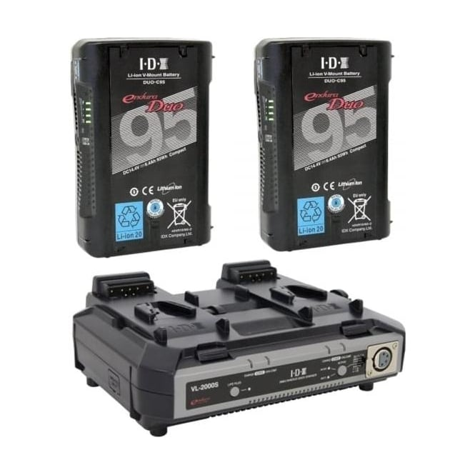 IDX ED-C95/2000S 2 x ENDURA DUO-C95 Batteries, 1 x VL-2000S Simultaneous Charger with 4 pin XLR DC Output (100W)