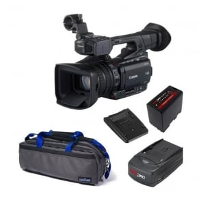 Canon XF200 Compact HD Camcorder with a charger, battery and a bag  package c