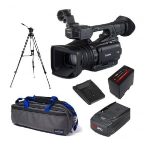 Canon XF200 Compact HD Camcorder with a charger, battery, bag and a tripod package d