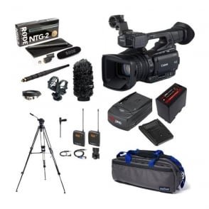 Canon XF200 Compact HD Camcorder with a charger, battery, bag, tripod + microphone kit package F