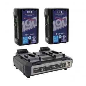 IDX ED-C190/2000S 2 x ENDURA DUO-C190 Batteries, 1 x VL-2000S Simultaneous Charger with 4 pin XLR DC Output