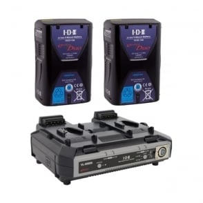 IDX ED-150/2000S 2 x ENDURA DUO-150 Batteries, 1 x VL-2000S Simultaneous Charger with 4 pin XLR DC Output (100W)
