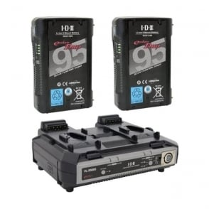 ED-C95/2000S 2 x ENDURA DUO-C95 Batteries, 1 x VL-2000S Simultaneous Charger with 4 pin XLR DC Output (100W)
