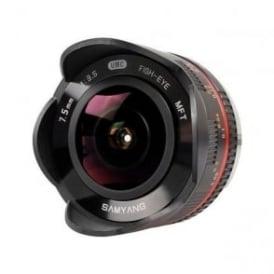 Samyang 7600 7.5mmFISHEYE F3.5 M4/3 Lens - Blk, black