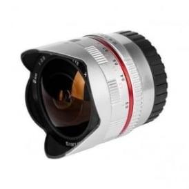 Samyang 7610 8mmFISHEYE F2.8 Lens FUJI-X Sil, silver