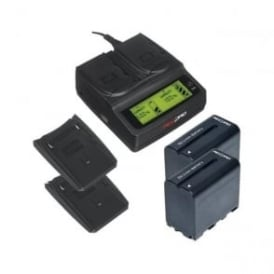 RP-DC20 Digital Dual Battery Charger with 2 Charger Plates and 2 batteries Package b