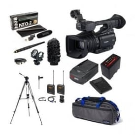 XF200 Compact HD Camcorder with a charger, battery, bag, tripod + microphone kit package F