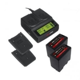 RP-DC20 Digital Dual Battery Charger with 2 Charger Plates and 2 batteries Package c