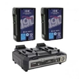 ED-C190/2000S 2 x ENDURA DUO-C190 Batteries, 1 x VL-2000S Simultaneous Charger with 4 pin XLR DC Output