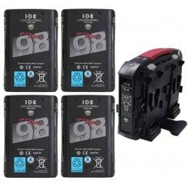 IDX ED-C98/4X 4 x DUO-C98 Batteries, 1 x VL-4X Charger Kit