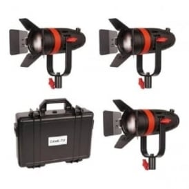 Boltzen 55W Focusable LED Fresnel 3-Light Kit