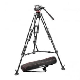 MAN MVH502A+546BK 1 Aluminium Tripod with Sliding Plate MVH502A Video Head