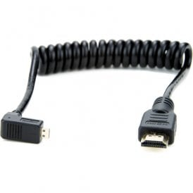 "Right-Angle Micro to Full HDMI Coiled Cable (11.8 to 17.7"")"